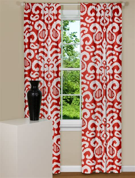 red and white patterned curtains modern red curtains fergana ikat