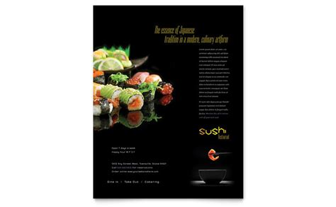 Sushi Restaurant Flyer Template Design Sushi Menu Template Free