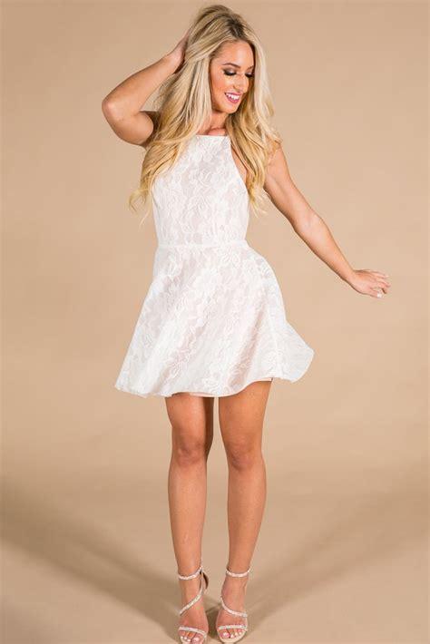 Dress White Pretty heartbreaker fit flare dress in light