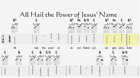 guitar tutorial in jesus name all hail the power of jesus name lesson with guitar