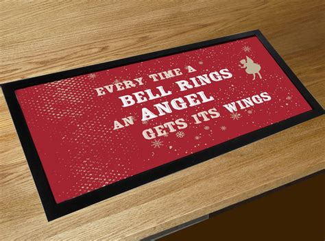 time  bell rings  angel   wings christmas  quote bar runner counter mat