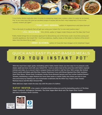 instant pot vegan cookbook the easy plant based electric pressure cooker recipes instant pot resipes books the ultimate vegan cookbook for your instant pot 80 easy