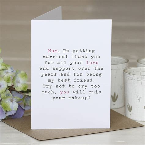 'mother of the bride' wedding thank you card by slice of