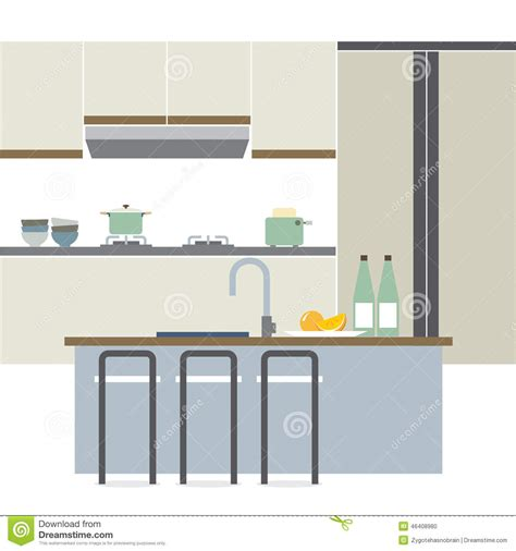 modern home design vector modern flat design kitchen interior stock vector