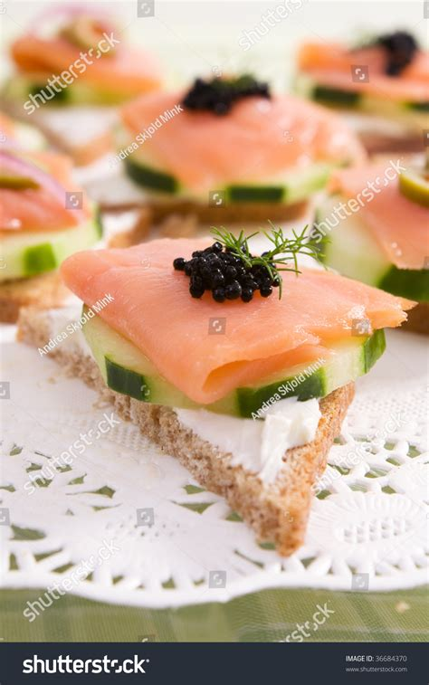 rye bread canapes smoked salmon canapes on rye bread stock photo 36684370