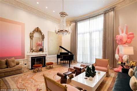 the living room manhattan manhattan mansion with hermes leather on the wall on sale for 84 5m daily mail