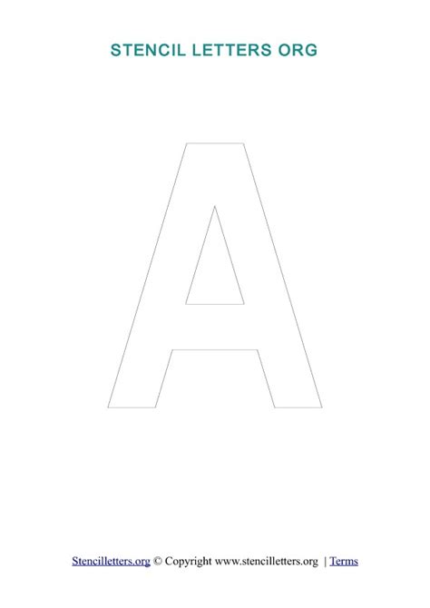 letter a template a z letters in pdf stencil templates style 3 outline