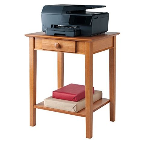 winsome wood printer stand with drawer and shelf honey