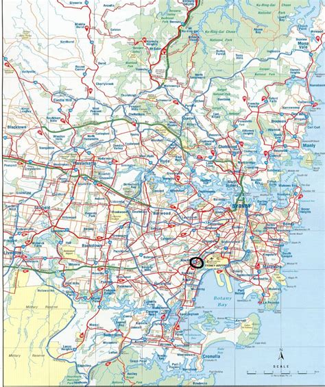 printable nsw road map detailed main roads map of sydney