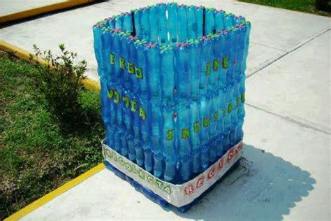 cestos en materiales reciclables cesto para la basura hecho con botellas pet recicladas