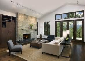 Outdoor Stacked Stone Fireplace - mountain home living room contemporary living room san francisco by mosaic interiors sf
