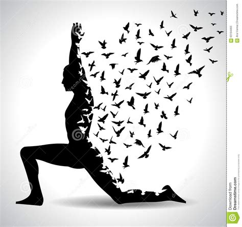 imagenes de yoga blanco y negro yoga pose with birds flying from human body black and