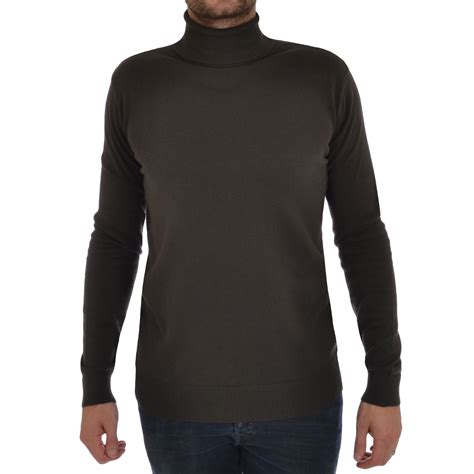 Polo Knit Pullover brave soul mens roll polo turtle neck jumper pullover