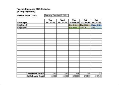 free shift schedule template weekly employee work schedule free template driverlayer