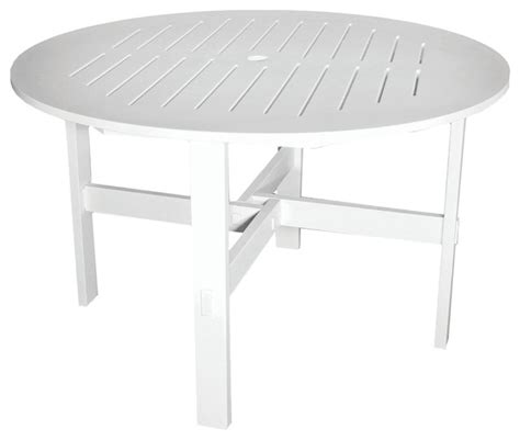 Poly Concepts Llc Outdoor 48 Quot Round Dining Table W White Patio Table With Umbrella