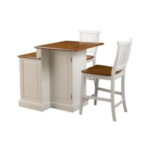 Homedepot Kitchen Island Home Styles Woodbridge Two Tier Kitchen Island In White With Oak Top And Two Stools 5010 948