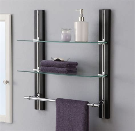 Bathroom Towel Shelving Bathroom Shelf Organizer Glass Towel Rack Bar Wall Mounted Holder 2 Tier Storage Ebay