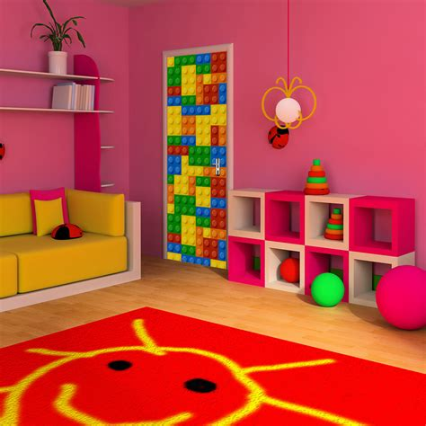 building blocks children lego door wall stickers for kids