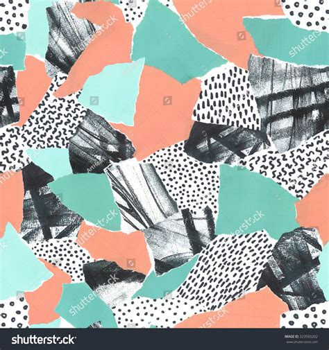 shape pattern collage abstract paper collage retro 80s memphis stock