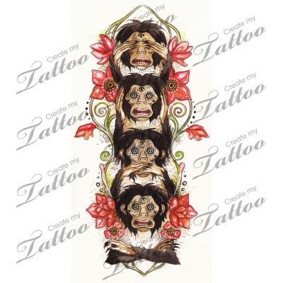 three monkeys tattoo design the 4 wise monkeys custom four wise monkeys