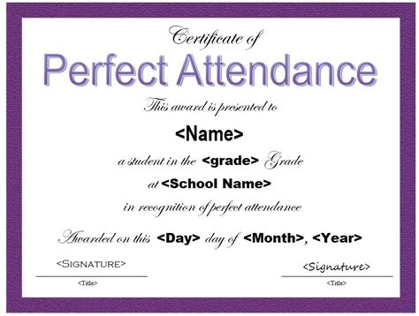 13 free sle perfect attendance certificate templates