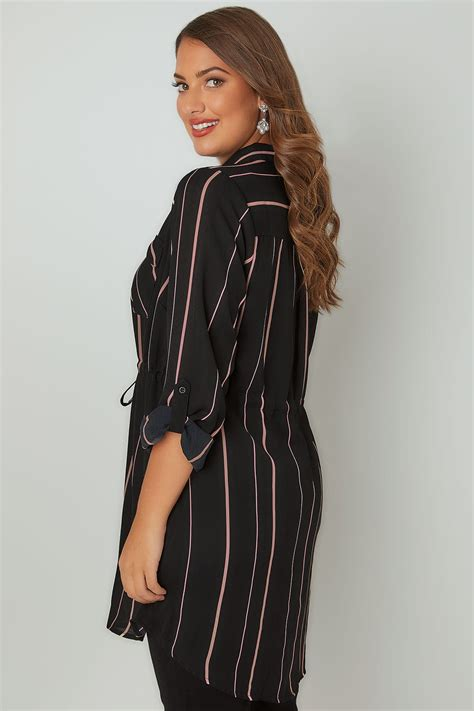 Check Value Of Visa Gift Card - black pink striped longline shirt with self tie waist plus size 16 to 36