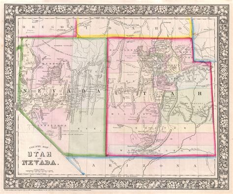 road map of utah and nevada file 1866 mitchell map of utah and nevada geographicus