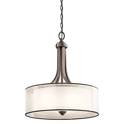 Kichler Pendant Lighting Kitchen Shop Kichler 20 In Mission Bronze Hardwired Single Etched Glass Drum Pendant At Lowes