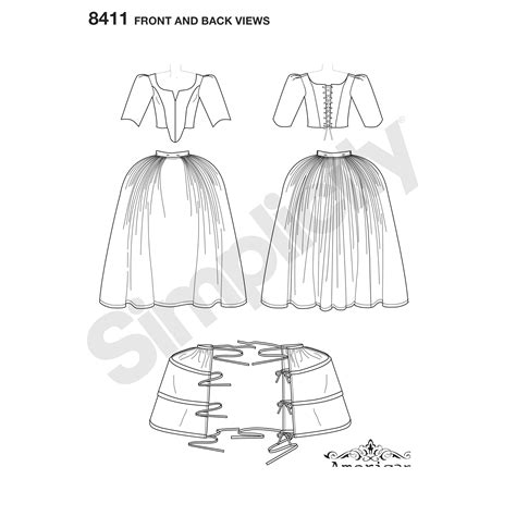 demand pattern in french simplicity pattern 8411 misses 18th century costume