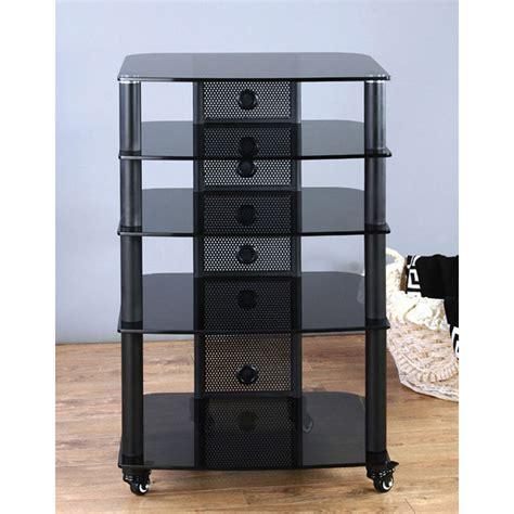 vti 5 shelf mobile audio rack black with black glass ngr405bb