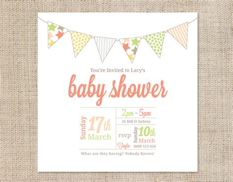 template for baby shower invitation to email printable baby shower invitation template bunting coco