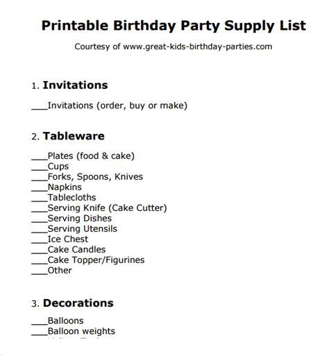 birthday checklist template sle birthday checklist template 9 free