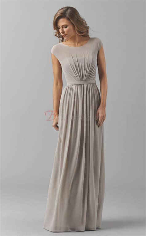 Sleeve A Line Chiffon Dress silver a line chiffon with sleeves bridesmaid