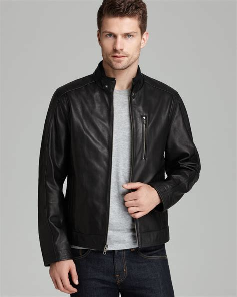 mens moto jacket cole haan pebbled leather moto jacket in black for men lyst
