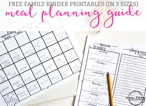 free printable meal planning guide meal planning printables free family binder printables