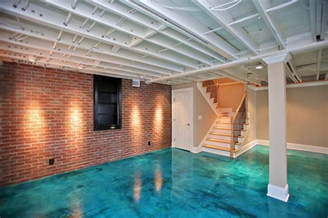 Phenomenal Basement Concrete Floor Paint Decorating Ideas Cement Basement Floor Ideas