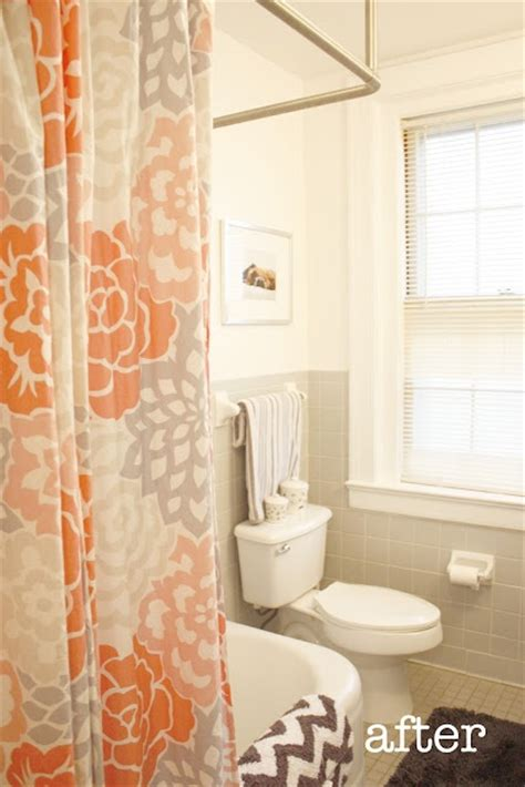 orange and grey shower curtain orange and grey shower curtain with chevron towel i have