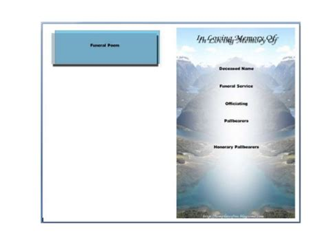 Free Bi Fold Card Template by Printable Bi Fold Funeral Program Template Card V M D