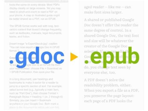 epub format how to read how to export your google doc to epub and give readers