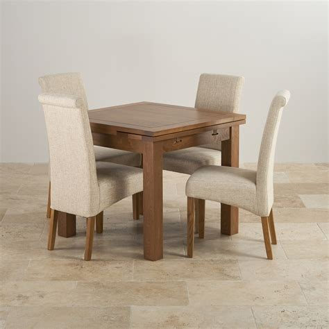 Dining Table Set Fabric Chairs Extending Dining Table In Rustic Oak With 4 Beige Fabric