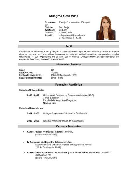 Modelo De Curriculum Para Mi Primer Trabajo Curriculum Vitae Curriculum Vitae Experiencia Laboral Argentina