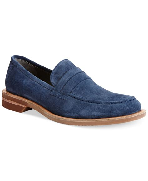 loafers calvin klein calvin klein yurik suede loafers in blue for lyst
