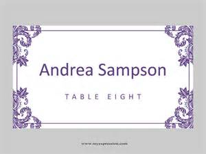 Template Place Cards Wedding Place Cards Template Folded Purple Damask