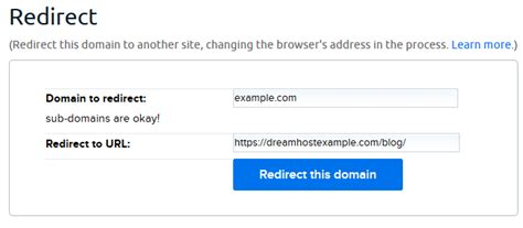 redirect  domain dreamhost