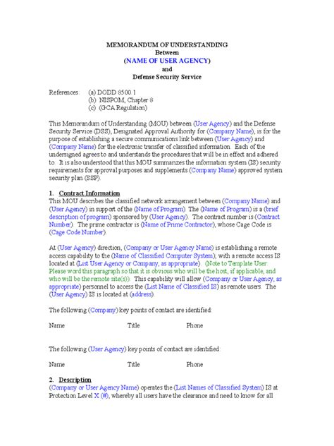 memorandum of understanding template word memorandum of understanding 6 free templates in pdf