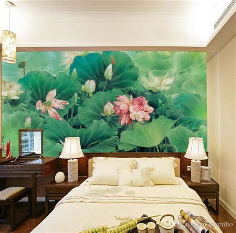 metal sculpture lotus pond hotel decoration home decor chinese painting photo wallpaper silk wall mural lotus