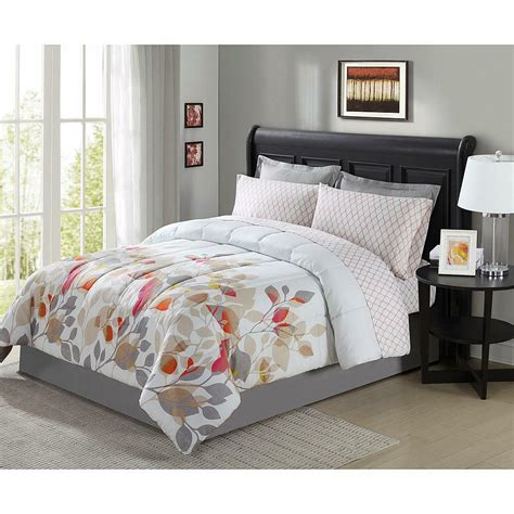 pieces complete bedding set comforter floral flowers king queen full twin bag ebay