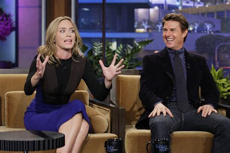 film tom cruise emily blunt emily blunt catches tom cruise off guard with kiss