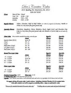 cake price list dice s creative cakes