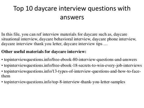 top 10 daycare questions with answers